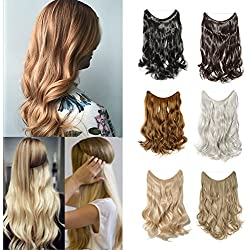 Sexybaby Flip On Wire In Synthetic Hair extension Hidden Invisible Not Clip In Hair extension Secret Miracle Headband, Medium Brown-wavy, 24''