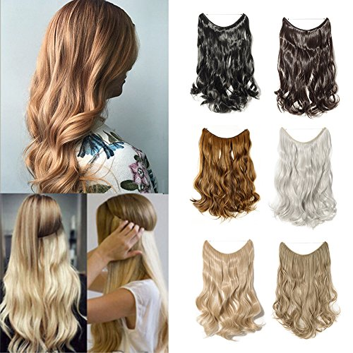 20''/24'' Flip On Wire In Synthetic Hair extension Hidden Invisible Not Clip In Hair extension Secret Miracle Headband Straight Wavy Blonde Black Brown