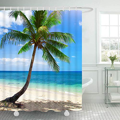 Martine Mall Beach Shower Curtains, Hawaii Ocean Shower Curtains, Exotic Hawaii Beach Water and Coconut Palm Tree by The Shore Bath Curtain Shower Set with 12 Free Hooks for ()