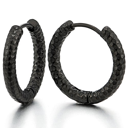 (Stainless Steel Black Textured Circle Huggie Hinged Hoop Earrings for Men Women, 2pcs)