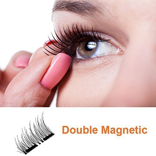 Lux Lashes: simply the lightest and easiest for your most natural look. Reusable Dual Magnetic Eyelashes. The fake eyelashes cover the outer edge up to 2/3 of the eye. Instructions included.