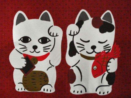 Japanese Noren Manekineko Door Curtain Lucky and Fortune Cats Doorway Window Treatment (Wine Red) by LifEast