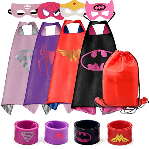 RioRand Dress Up Costumes Cartoon 4-Pack Satin Capes Set With Felt Masks,Slap Bracelets and Exclusive Bag for Girls (4pcs+capes for (Cartoon Dress Up Costumes)