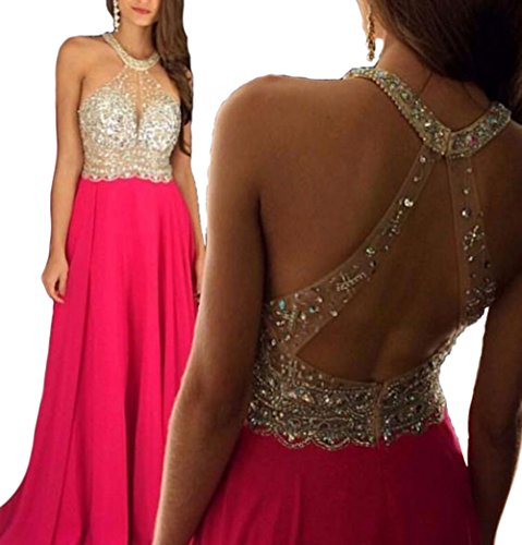Half Flower Bridal Chiffon Halter Evening Dress Hollow Sequins Prom Gown A-Line Party Dress Pink US2