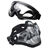 OUTGEEK Airsoft Half Face Mask Steel Mesh and Goggles Set (Skull)