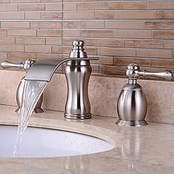Wovier Brushed Nickel Waterfall Bathroom Sink Faucet Two
