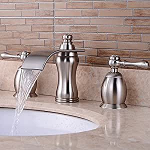 bathroom sink faucets amazon wovier brushed nickel waterfall bathroom sink faucet two 16499