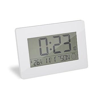 Balvi - Espace Reloj de Pared y Despertador. Se Puede Colgar en la Pared o Usar de sobremesa. Funciona con 2 Pilas AA. Color Blanco.: Amazon.es: Hogar