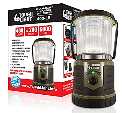 Tough Light LED Rechargeable Lantern - 200 Hours of Light from a Single Charge, Longest Lasting on Amazon! Camping and Emergency Light with Cell Phone Charger - 2 Year Warranty from Tough Light