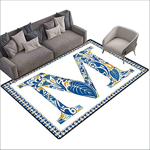 Anti Slip House Kitchen Door Area Rug Letter M,Blue Floral Capital Letter M with Exotic Leaves Blossoms in Vintage Style,Blue Yellow Orange 64