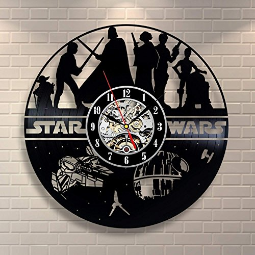 Home & Crafts Star Wars Handmade Heroes Vinyl Record Wall Clock - Contemporary Star Wars Fan Art Design - Get Unique Living Room Wall Decor - Gift Ideas for his and her