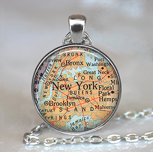 New York map necklace, Manhattan map pendant, Brooklyn Bronx map Queens map, travel map, map (Bronx Stores)