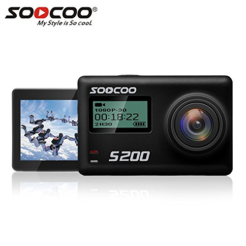 4K Action Camera Touchscreen, SOOCOO S200 Sports Camera Ultra HD WIFI Action Camera Waterproof 20MP 170 Degree Wide-Angle Lens 2'' LCD Screen 2.4GHz Remote Control/2 Batteries/Free Travel Bag-Black by SOOCOO