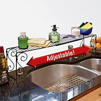Custom Fit Adjustable Over The Sink Black Metal Organizer Scrollwork Shelf