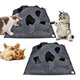 Aolvo Cat Play Mat, Fun Interactive Play Collapsible Pet Mat Training Scratching Thermal Bed Mat - Great Gift for any Cat or Other Pet