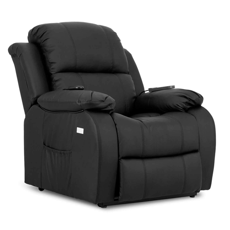 Novohogar Coliseum, Sillón de masaje levantapersonas con función calor, 8 motores de vibración, respaldo reclinable 160º, Negro (Black)