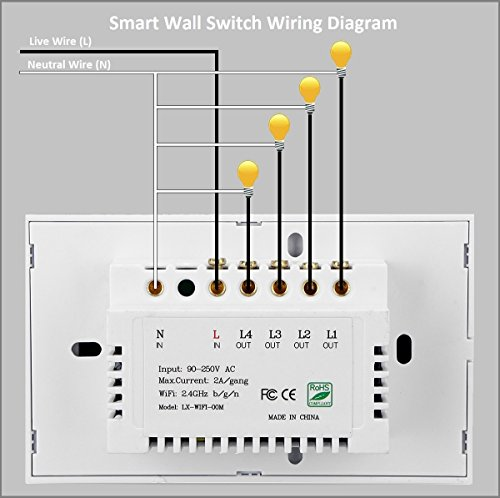 Smart Light Switch/Wifi Smart remote light switch - Wall Touch Switch, Wireless Voice Control and Timer Switch, Work with Amazon Alexa Echo and Google Home by Alysontech (Image #2)