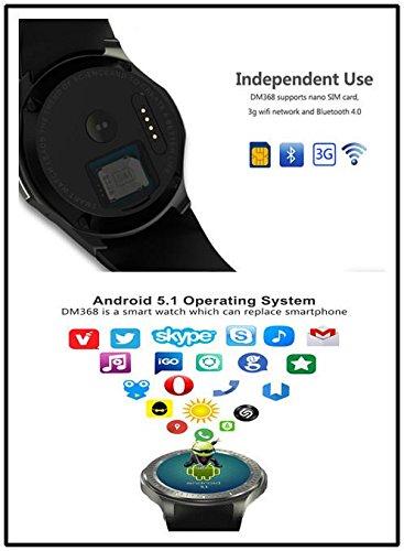 Kobwa 3 G WIFI Bluetooth Smart reloj teléfono celular todo en uno Android 5.1 DM368 Fitness Smartwatch con GPS, monitor de frecuencia cardiaca, ...