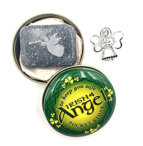 Angel Silver Plated Pin and Kilkenny Marble Pocket Angel Stone ()