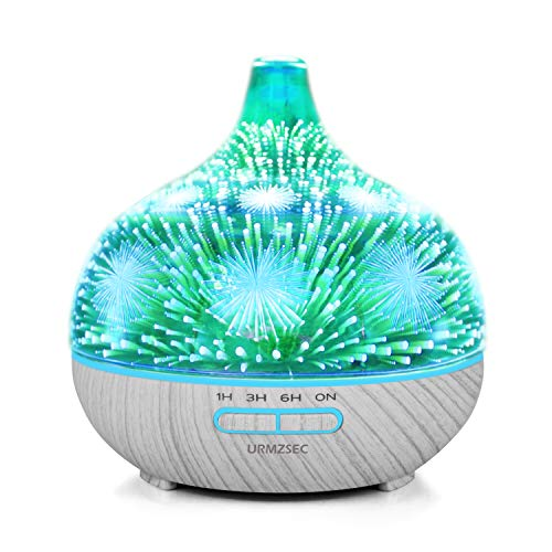 URMZSEC Aroma Essential Oil Diffuser, 400ml 3D Glass Home Fragrance Humidifier with adjustable Mist Mode, Auto waterless Shut-Off and 7 Colors changing Light for Home Office (Fireworks Pattern) ()