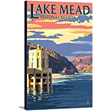 Lake Mead, Nevada / Arizona - Paddleboat and Hoover Dam (12x18 Gallery Wrapped Stretched Canvas)