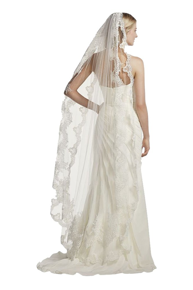 Single Tier Mid Length Scalloped Edge Veil Style GA003, Ivory
