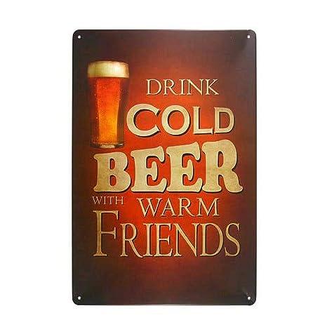 Cold Beer Warm Friends Póster De Pared Metal Retro Placa ...