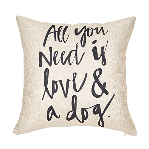 Softxpp All You Need is Love and a Dog Lover Quote Throw Pillow Cover Red Christmas Sign Winter Holiday Decor Cushion Case Decorative for Sofa