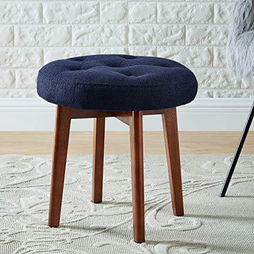 WEMART Linen Tufted Round Ottoman with Solid Wood Leg, Upholstered Padded Stool - Navy (Round Solid Wood)