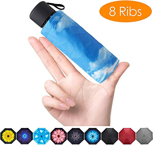 Fidus Upgraded 8 Ribs Mini Portable Sun&Rain Lightweight Windproof Umbrella - Compact Parasol Outdoor Travel Umbrella for Men Women Kids-Blue Sky