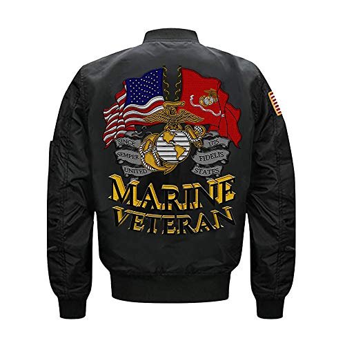 US Marine Veteran MA-1 Flight Embroidered Bomber Jacket (XXXXX-Large, Black)