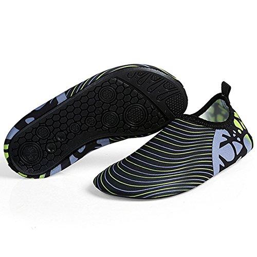 Barerun Kids Quick-Dry Wasserschuhe Leichte Aqua Socken für Beach Pool Surf Yoga Übung Streifen Schwarz