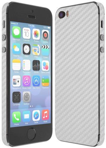 Skinomi TechSkin - Apple iPhone SE / 5S / 5 SE / 5SE Screen Protector + Silver Carbon Fiber Full Body Skin w/ / Front & Back Clear Film / Ultra HD and Anti-Bubble Invisible Shield