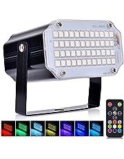 Luci Discoteca LED, AUSHEN 48 LEDs Partylight con telecomando, lampada stroboscopica a LED RGB suono attivato per discoteca DJ Party Karaoke KTV Bar [2 anni di garanzia]