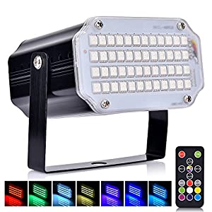 Disco Lichteffekt, AUSHEN 48 LED Stroboskop licht.1: Superhell: 48 RGB-LEDs erzeugen einen beeindruckenden Strobe-Effekt mit lebendigen Farben aushen 48 led Disco Lichteffekt, AUSHEN 48 LED Stroboskop licht, party licht mit Fernbedienung, Sprachaktiviertes RGB LED Strobe Lampe für Christmas Disco DJ Party 510UqBbso5L