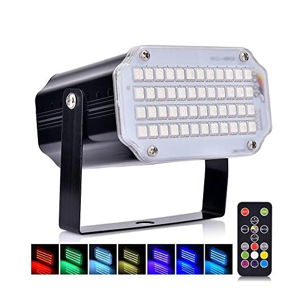 Disco Lichteffekt, AUSHEN 48 LED Stroboskop licht.1: Superhell: 48 RGB-LEDs erzeugen einen beeindruckenden Strobe-Effekt mit lebendigen Farben