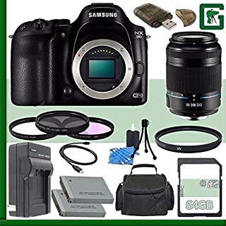 Samsung NX30 Mirrorless Digital Camera Body Only + Samsung 50-200mm f/4.0-5.6 ED OIS II Lens (Black) + 64GB Green's Camera Bundle 4