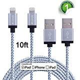 #7: Xcords Lightning Cable, 2Pack 10FT Extra Long Nylon Braided Charger to USB iPhone Charging Cord Compatible with iPhone 7/7 Plus/6S/6 Plus, SE/5S/5,iPad,iPod Nano 7 (White,10FT)