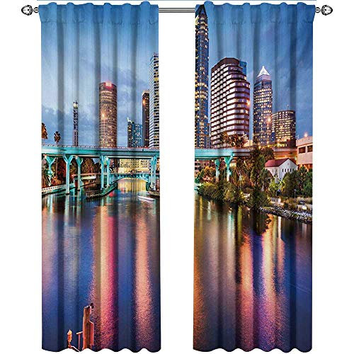 shenglv City, Party Curtains Decorations, Hillsborough River Tampa Florida USA Downtown Idyllic Evening at Business District, Curtains Kids, W96 x L108 Inch, Multicolor -