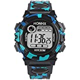 Boys or Girls , Digital Blue , Black and Turqoise Sports Watch w/ Silcone Band ( water resistant , date, stop watch) (black)
