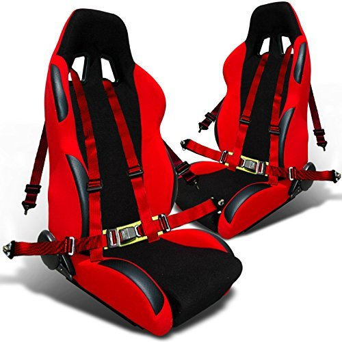 Racing Seat Reclinable, 2Pc Red 4-Point Harness Belts (Car Racing Seats)