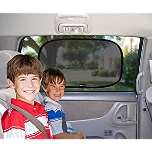 "Car Window Shade - (2 Pack ) - XL - 25"" x 16"" - Cling Sunshade For Car Windows - Sun, Glare And UV Rays Protection For Your Child - Baby Side Window Car Sun Shades By Enovoe"