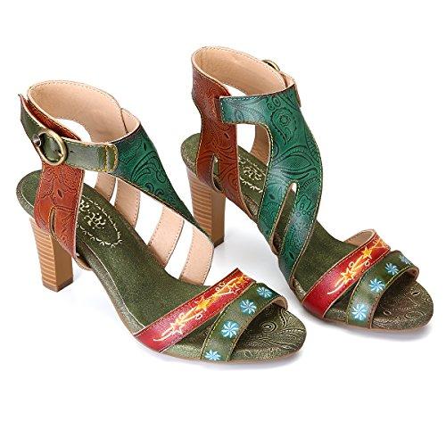 Ville Chaussures Bout Véritable à Cuir en Fait la Cuir Femmes Talons gracosy Original Rose Ouvert Vert Fleurs Printemps avec Sexy de à Eté Mains Escarpins Hauts Motif Vert Style Sandales 2018 vnwYz6nxq0