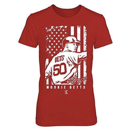 FanPrint Mookie Betts T-Shirt - Player Illustration Flag - Women's Tee/Red/S