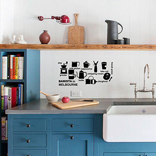 BIBITIME Kitchen Wall Decal BARISTA in MELBOURNE drip grimder milk picker whipping cream take out kettle doughnut french press Silhouette Sticker for Shop Window (Best Shops In Melbourne)