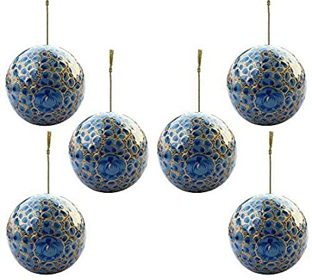 Set of 6 Paper Mache Indian Wooden Christmas Decorations Baubles ...