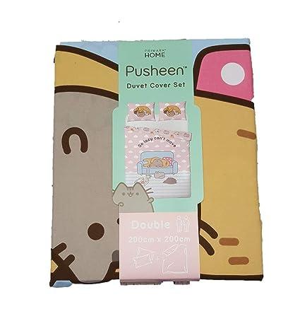 f52e5b361c9c7 Primark Home Official Pusheen The Cat Double Duvet Cover Set 200cm x200cm   Amazon.co.uk  Kitchen   Home