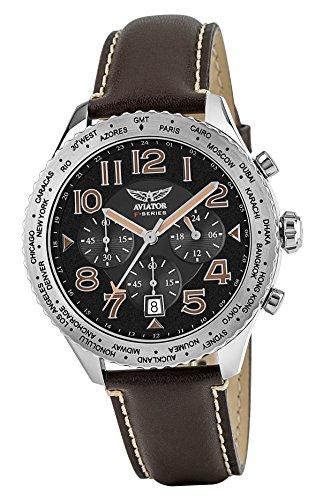 AVIATOR Brown Leather Strap Watch - Aviators Chronograph Watches for Men - Waterproof 10 ATM Mens Quartz (Military Chronograph Pilot Watch)
