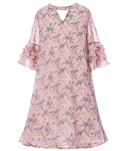 Smukke, Big Girls Floral Printed Long Sleeves Dress with Lace Trim or Tiered Ruffles (Many Options) 7-16 (14, Pink)