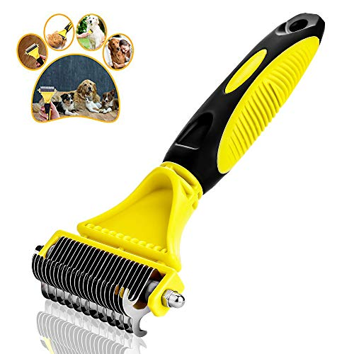 Meng Pet Pet Grooming Tool-Comb with 2 Sided Professional Grooming Rake for Cats & Dogs - Safe Dematting Comb - Pet Coat King Retouching Tool-Gently Removes Loose Undercoat, Mats, Tangles and Knots